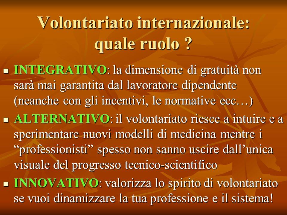 Volontariato internazionale: quale ruolo .