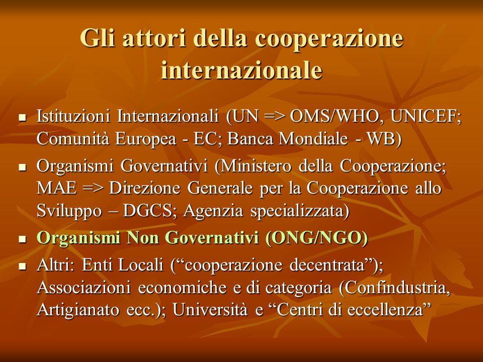 Gli attori della cooperazione internazionale Istituzioni Internazionali (UN => OMS/WHO, UNICEF; Comunità Europea - EC; Banca Mondiale - WB) Istituzioni Internazionali (UN => OMS/WHO, UNICEF; Comunità Europea - EC; Banca Mondiale - WB) Organismi Governativi (Ministero della Cooperazione; MAE => Direzione Generale per la Cooperazione allo Sviluppo – DGCS; Agenzia specializzata) Organismi Governativi (Ministero della Cooperazione; MAE => Direzione Generale per la Cooperazione allo Sviluppo – DGCS; Agenzia specializzata) Organismi Non Governativi (ONG/NGO) Organismi Non Governativi (ONG/NGO) Altri: Enti Locali (cooperazione decentrata); Associazioni economiche e di categoria (Confindustria, Artigianato ecc.); Università e Centri di eccellenza Altri: Enti Locali (cooperazione decentrata); Associazioni economiche e di categoria (Confindustria, Artigianato ecc.); Università e Centri di eccellenza