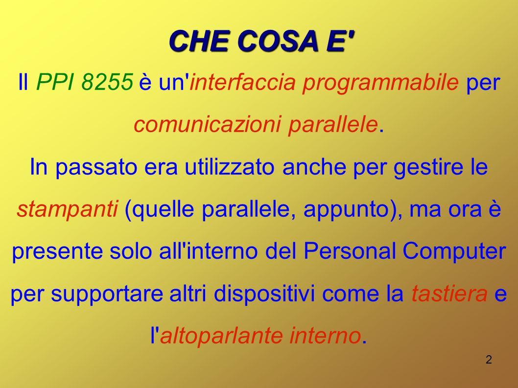 2 CHE COSA E' Il PPI 8255 è un'interfaccia programmabile per comunicazioni parallele. In passato era utilizzato anche per gestire le stampanti (quelle