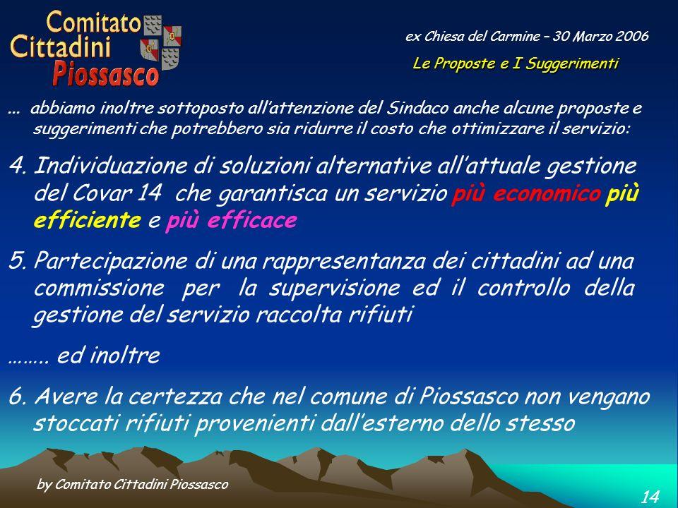 by Comitato Cittadini Piossasco 14 ex Chiesa del Carmine – 30 Marzo 2006...