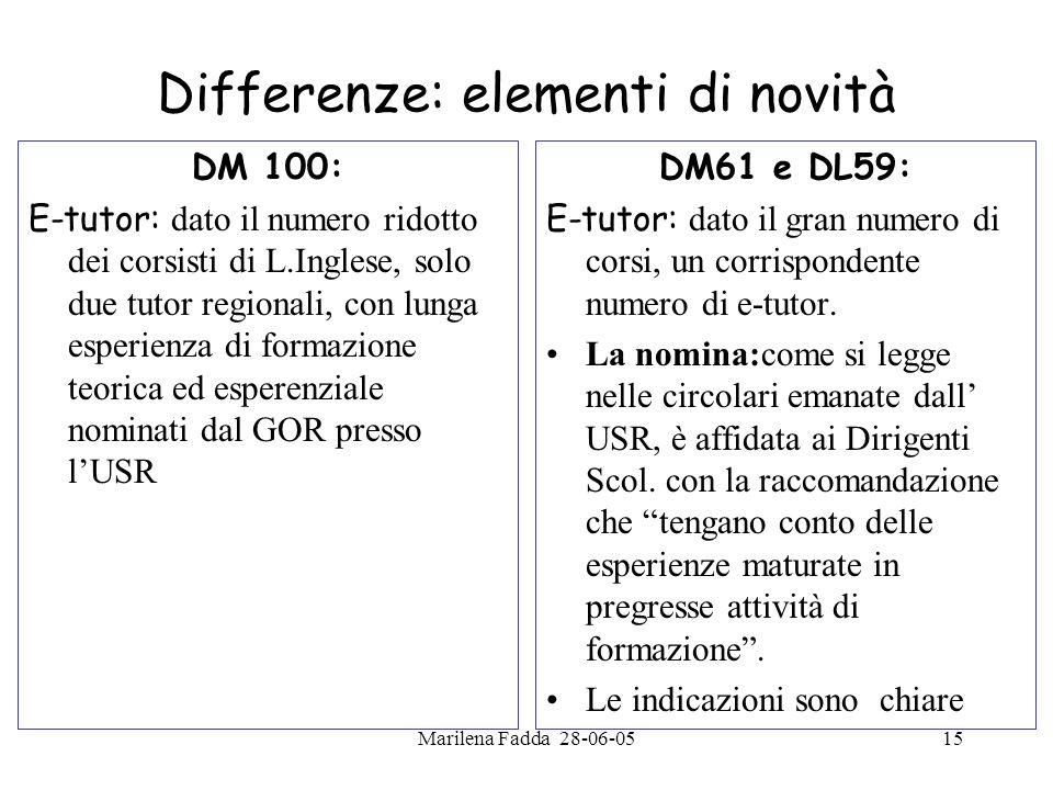 Marilena Fadda 28-06-0515 Differenze: elementi di novità DM 100: E-tutor: dato il numero ridotto dei corsisti di L.Inglese, solo due tutor regionali,