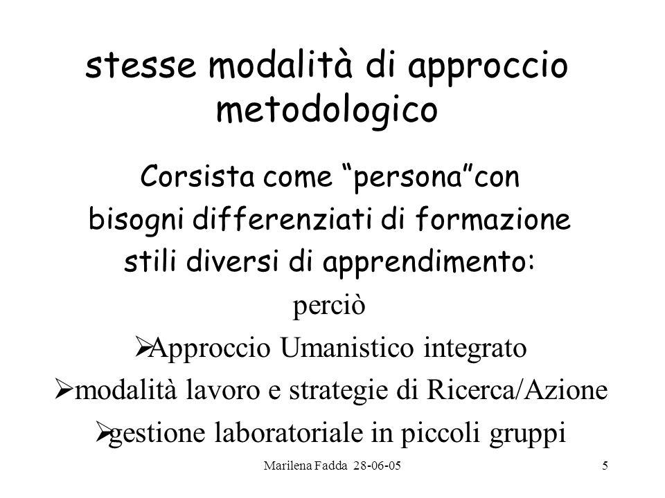 Marilena Fadda 28-06-055 stesse modalità di approccio metodologico Corsista come personacon bisogni differenziati di formazione stili diversi di appre