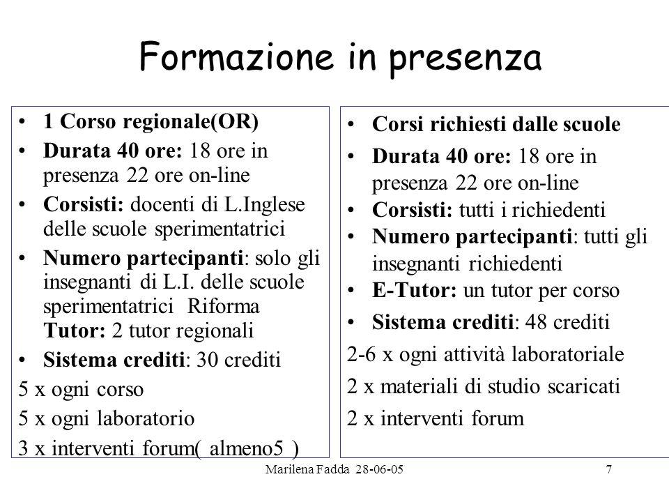 Marilena Fadda 28-06-057 Formazione in presenza 1 Corso regionale(OR) Durata 40 ore: 18 ore in presenza 22 ore on-line Corsisti: docenti di L.Inglese