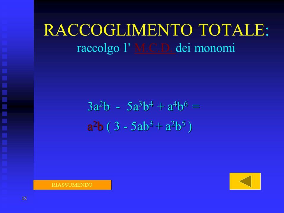 12 RACCOGLIMENTO TOTALE: raccolgo l M.C.D. dei monomiM.C.D. 3a 2 b 3a 2 b - 5a 3 b 4 5a 3 b 4 + a 4 b 6 a 4 b 6 = a2b a2b a2b a2b ( 3 - 5ab 3 5ab 3 +