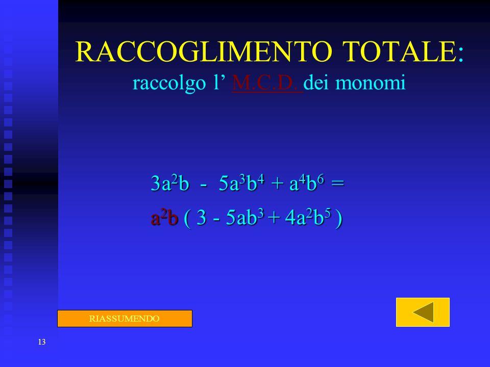 13 RACCOGLIMENTO TOTALE: raccolgo l M.C.D. dei monomiM.C.D. 3a 2 b - 5a 3 b 4 + a 4 b 6 = a 2 b ( 3 - 5ab 3 + 4a 2 b 5 ) RIASSUMENDO