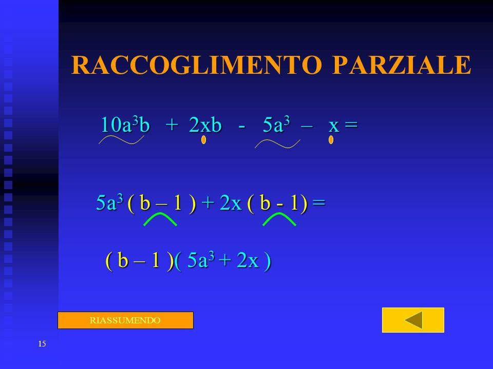 15 RACCOGLIMENTO PARZIALE 10a 3 b + 2xb - 5a 3 – x = 5a 3 ( b – 1 ) + 2x ( b - 1) = ( b – 1 )( 5a 3 + 2x ) ( b – 1 )( 5a 3 + 2x ) RIASSUMENDO