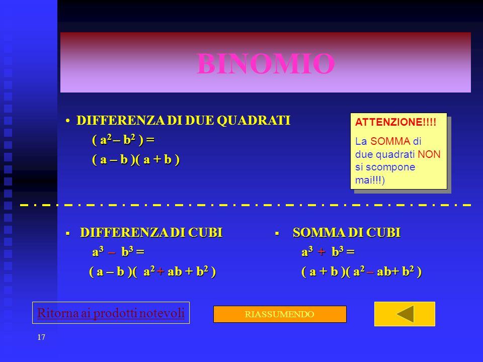 17 BINOMIO DIFFERENZA DI DUE QUADRATI ( a 2 – b 2 ) = ( a 2 – b 2 ) = ( a – b )( a + b ) ( a – b )( a + b ) DIFFERENZA DI CUBI DIFFERENZA DI CUBI a 3