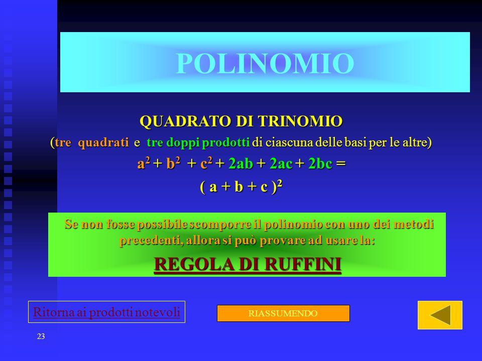23 POLINOMIO QUADRATO DI TRINOMIO (tre quadrati e tre doppi prodotti di ciascuna delle basi per le altre) a 2 + b 2 + c 2 + 2ab + 2ac + 2bc = ( a + b