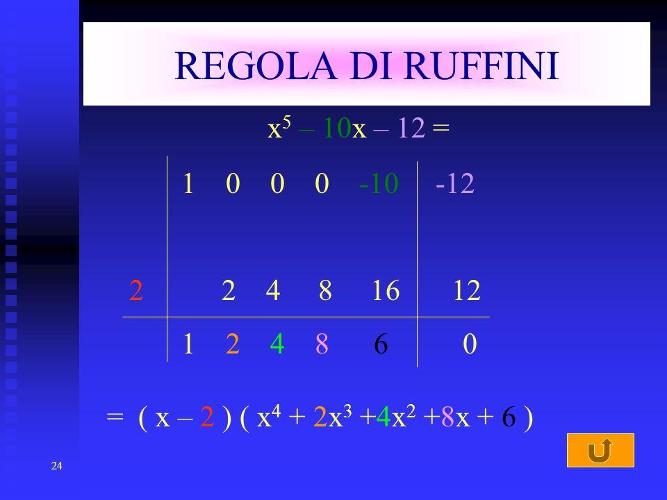24 REGOLA DI RUFFINI x 5 – 10x – 12 = 1 0 0 0 -10 -12 2 2 4 8 16 12 1 2 4 8 6 0 = ( x – 2 ) ( x4 x4 + 2x3 2x3 +4x2 +4x2 +8x + 6 )