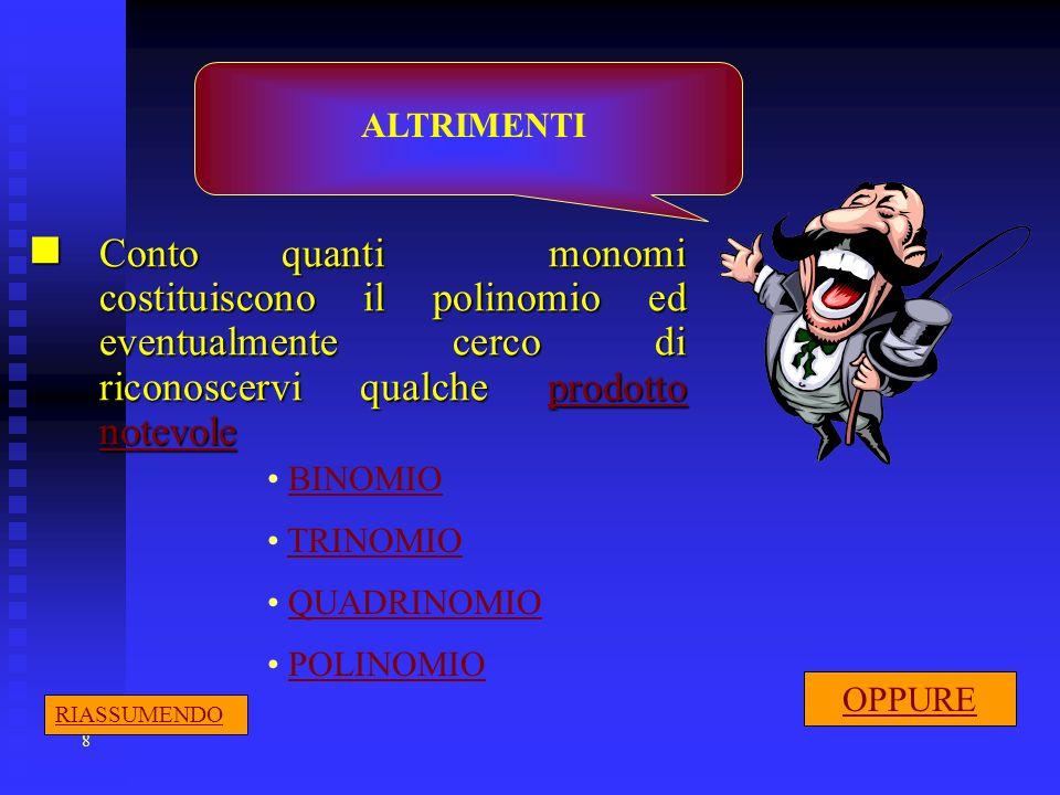 8 Conto quanti monomi costituiscono il polinomio ed eventualmente cerco di riconoscervi qualche prodotto notevole Conto quanti monomi costituiscono il