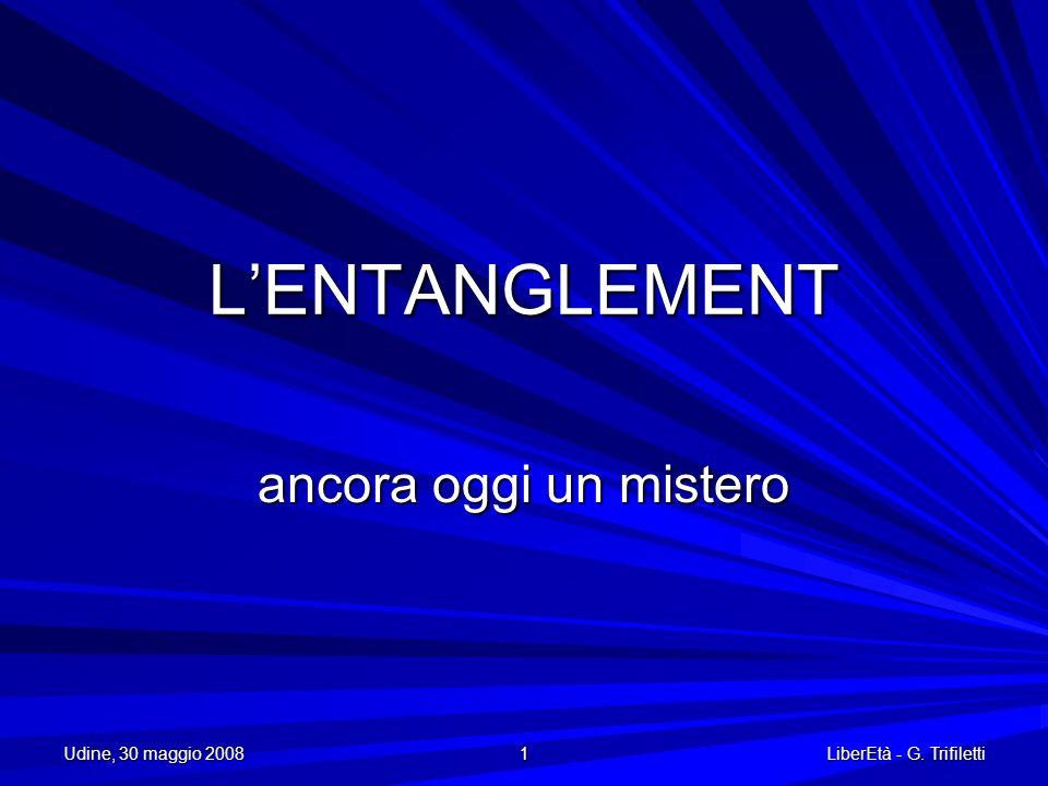 Udine, 30 maggio 2008 1 LiberEtà - G. Trifiletti LENTANGLEMENT ancora oggi un mistero