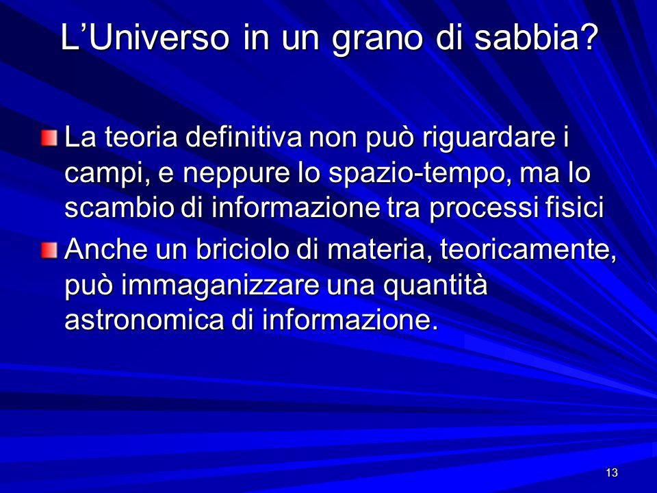13 LUniverso in un grano di sabbia? La teoria definitiva non può riguardare i campi, e neppure lo spazio-tempo, ma lo scambio di informazione tra proc