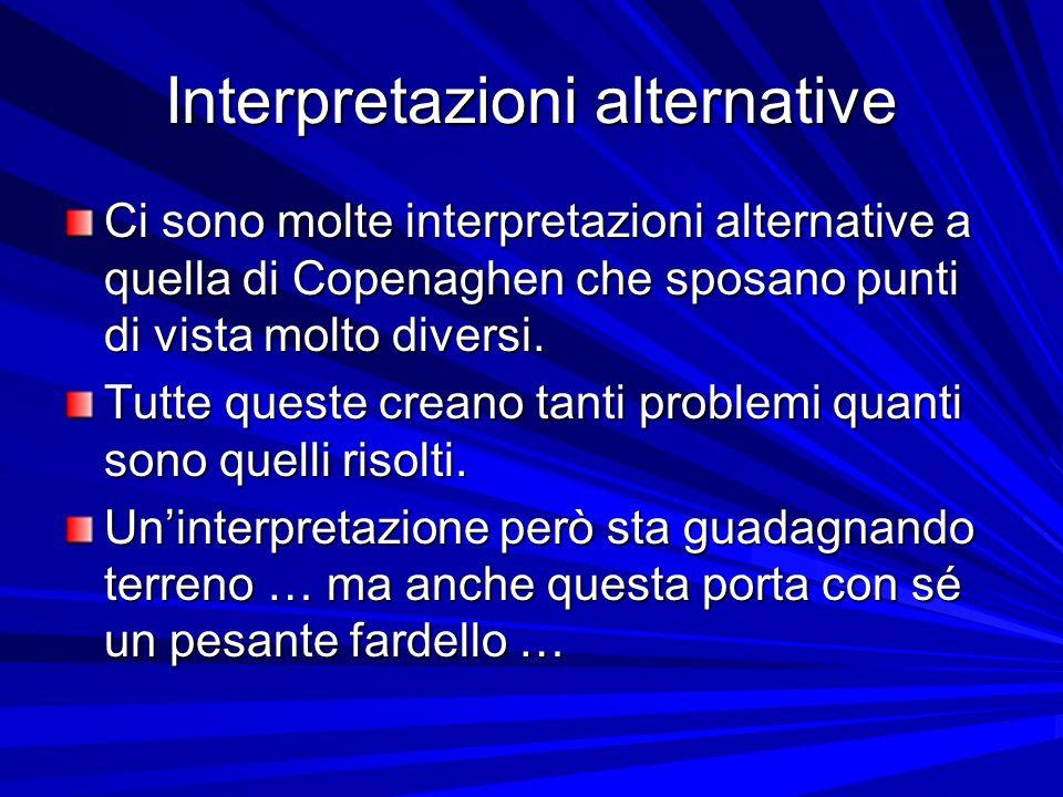 Interpretazioni alternative Ci sono molte interpretazioni alternative a quella di Copenaghen che sposano punti di vista molto diversi. Tutte queste cr