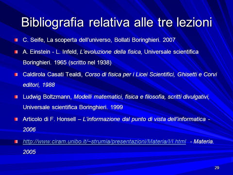 29 Bibliografia relativa alle tre lezioni C. Seife, La scoperta delluniverso, Bollati Boringhieri. 2007 A. Einstein - L. Infeld, Levoluzione della fis