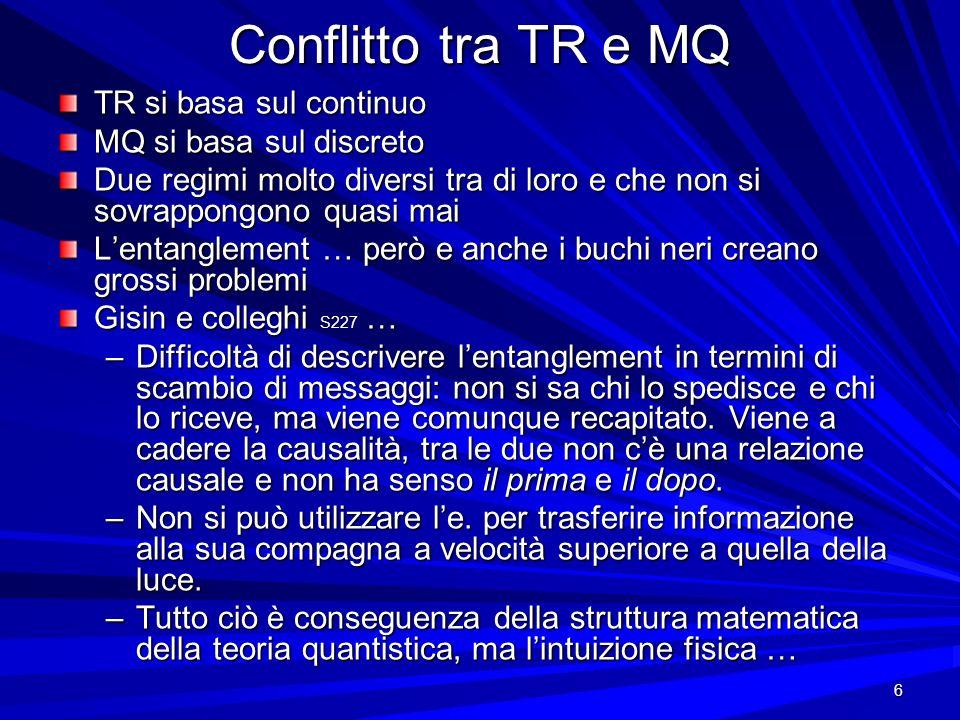 6 Conflitto tra TR e MQ TR si basa sul continuo MQ si basa sul discreto Due regimi molto diversi tra di loro e che non si sovrappongono quasi mai Lent