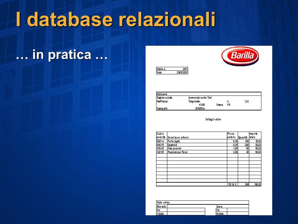 I database relazionali … in pratica …