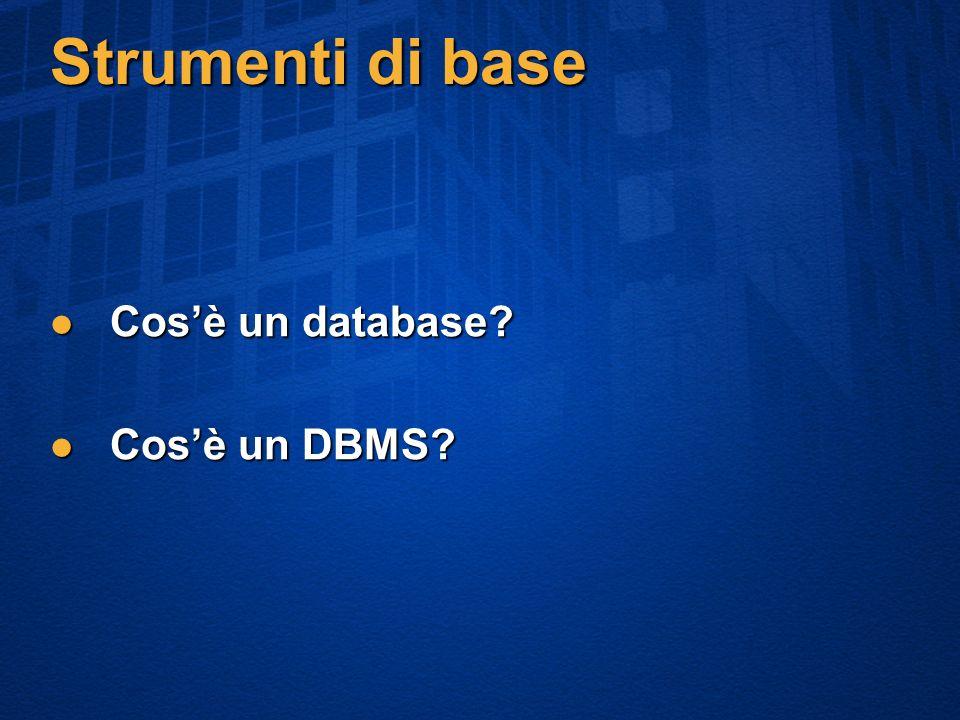 Strumenti di base Cosè un database Cosè un database Cosè un DBMS Cosè un DBMS