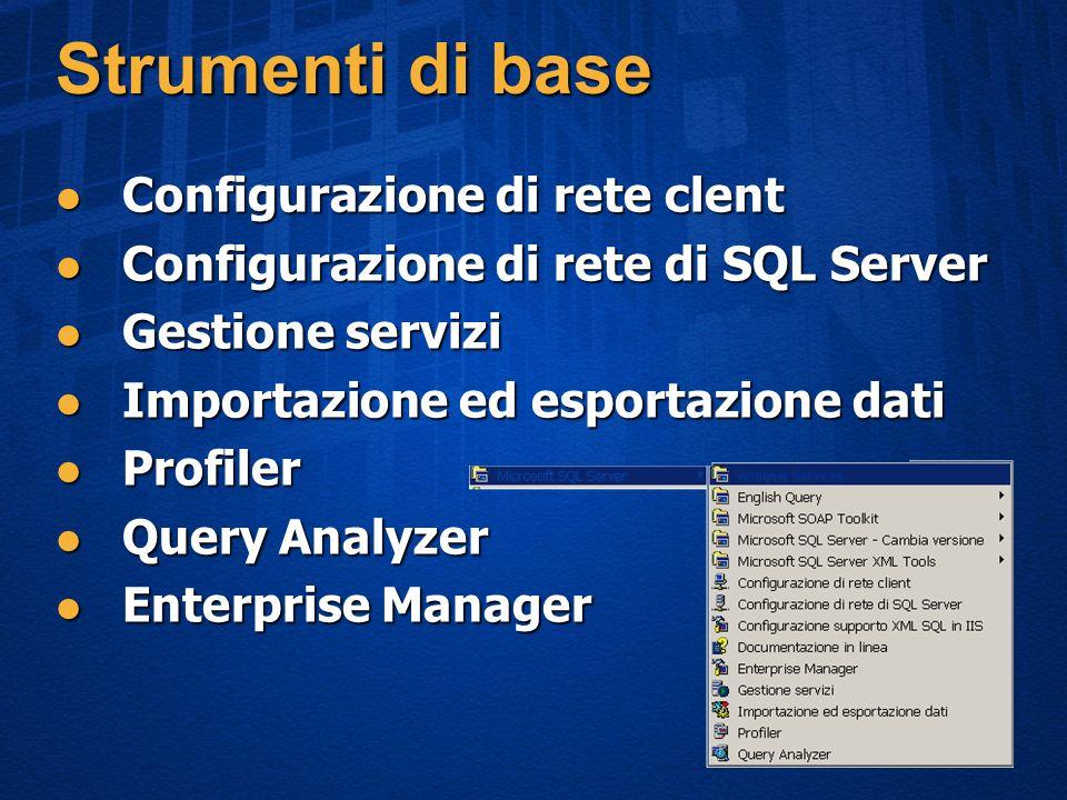 Strumenti di base Configurazione di rete clent Configurazione di rete clent Configurazione di rete di SQL Server Configurazione di rete di SQL Server Gestione servizi Gestione servizi Importazione ed esportazione dati Importazione ed esportazione dati Profiler Profiler Query Analyzer Query Analyzer Enterprise Manager Enterprise Manager