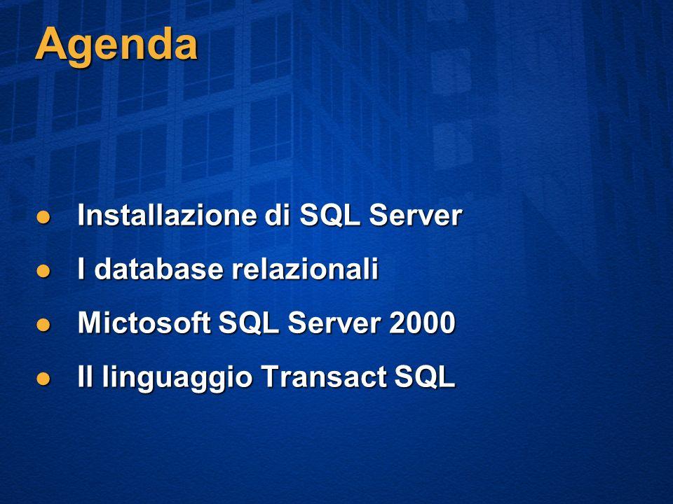 Agenda Installazione di SQL Server Installazione di SQL Server I database relazionali I database relazionali Mictosoft SQL Server 2000 Mictosoft SQL Server 2000 Il linguaggio Transact SQL Il linguaggio Transact SQL