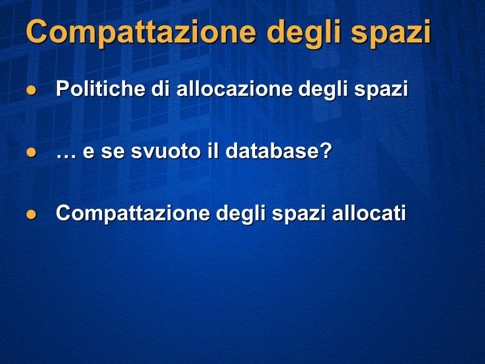 Compattazione degli spazi Politiche di allocazione degli spazi Politiche di allocazione degli spazi … e se svuoto il database.