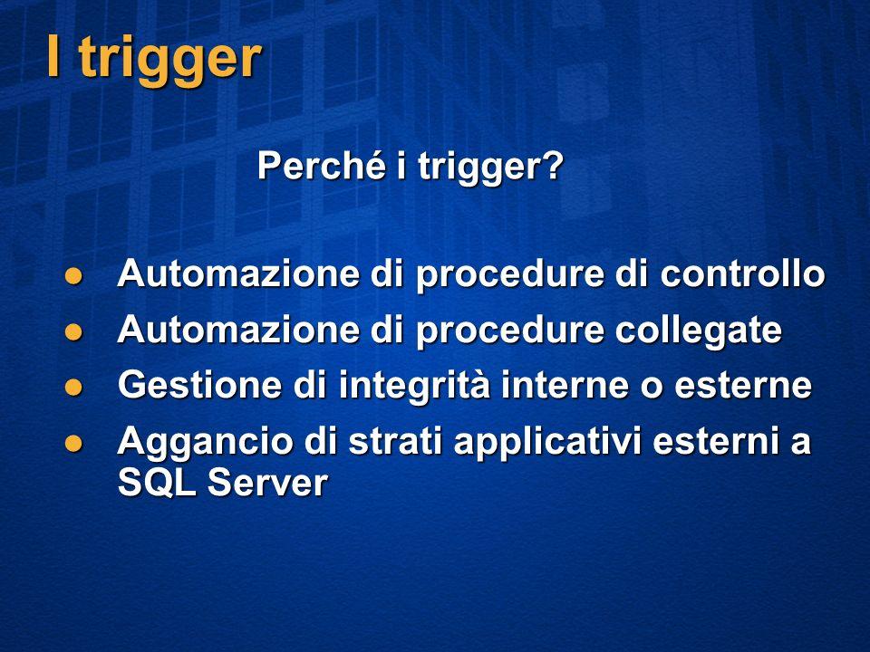 I trigger Automazione di procedure di controllo Automazione di procedure di controllo Automazione di procedure collegate Automazione di procedure collegate Gestione di integrità interne o esterne Gestione di integrità interne o esterne Aggancio di strati applicativi esterni a SQL Server Aggancio di strati applicativi esterni a SQL Server Perché i trigger