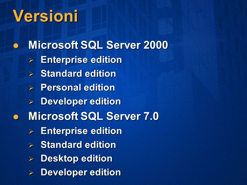 Versioni Microsoft SQL Server 2000 Microsoft SQL Server 2000 Enterprise edition Enterprise edition Standard edition Standard edition Personal edition Personal edition Developer edition Developer edition Microsoft SQL Server 7.0 Microsoft SQL Server 7.0 Enterprise edition Enterprise edition Standard edition Standard edition Desktop edition Desktop edition Developer edition Developer edition