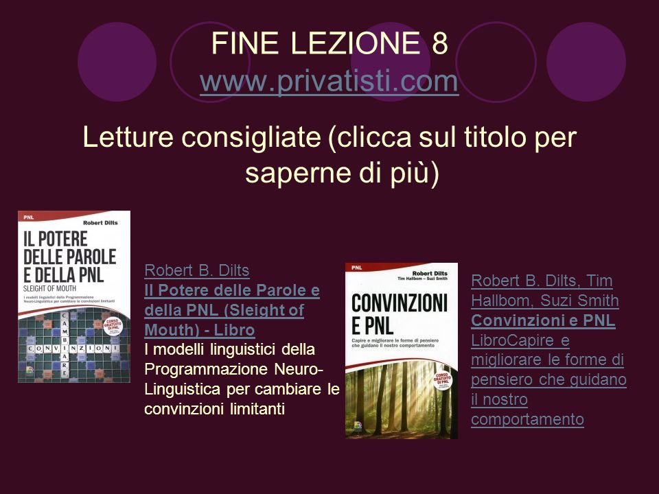 FINE LEZIONE 8 www.privatisti.com www.privatisti.com Letture consigliate (clicca sul titolo per saperne di più) Robert B. Dilts Il Potere delle Parole