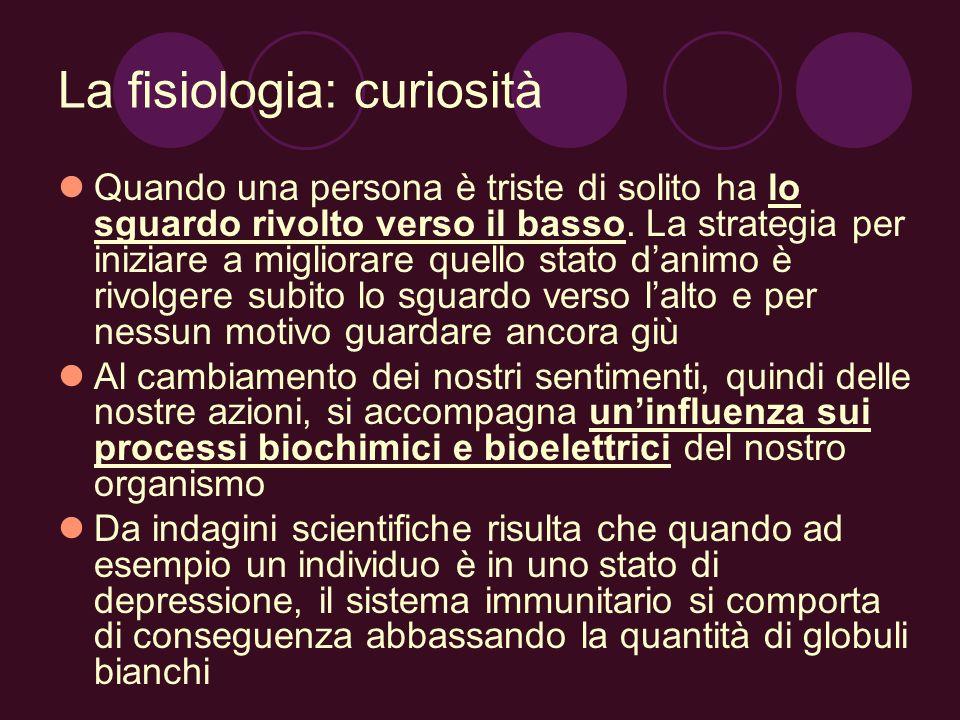 La fisiologia: curiosità Quando una persona è triste di solito ha lo sguardo rivolto verso il basso. La strategia per iniziare a migliorare quello sta