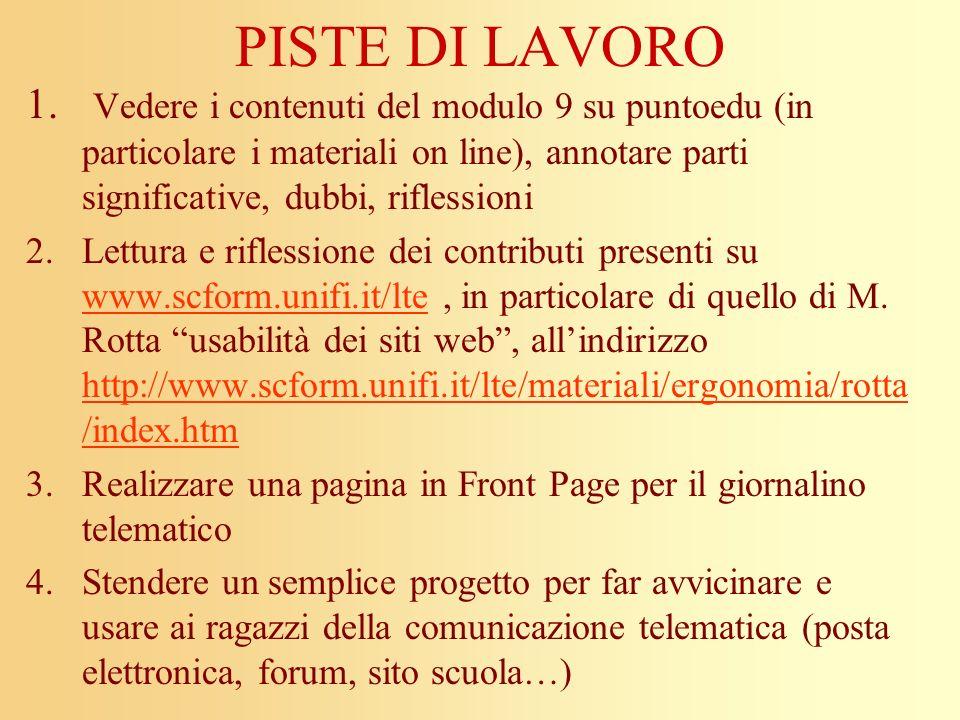 PISTE DI LAVORO 1. Vedere i contenuti del modulo 9 su puntoedu (in particolare i materiali on line), annotare parti significative, dubbi, riflessioni