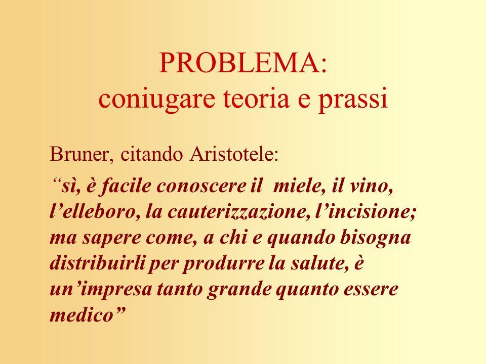 PROBLEMA: coniugare teoria e prassi Bruner, citando Aristotele: sì, è facile conoscere il miele, il vino, lelleboro, la cauterizzazione, lincisione; m