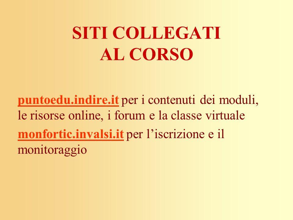 SITI COLLEGATI AL CORSO puntoedu.indire.itpuntoedu.indire.it per i contenuti dei moduli, le risorse online, i forum e la classe virtuale monfortic.inv