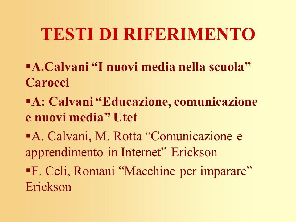 TESTI DI RIFERIMENTO A.Calvani I nuovi media nella scuola Carocci A: Calvani Educazione, comunicazione e nuovi media Utet A. Calvani, M. Rotta Comunic