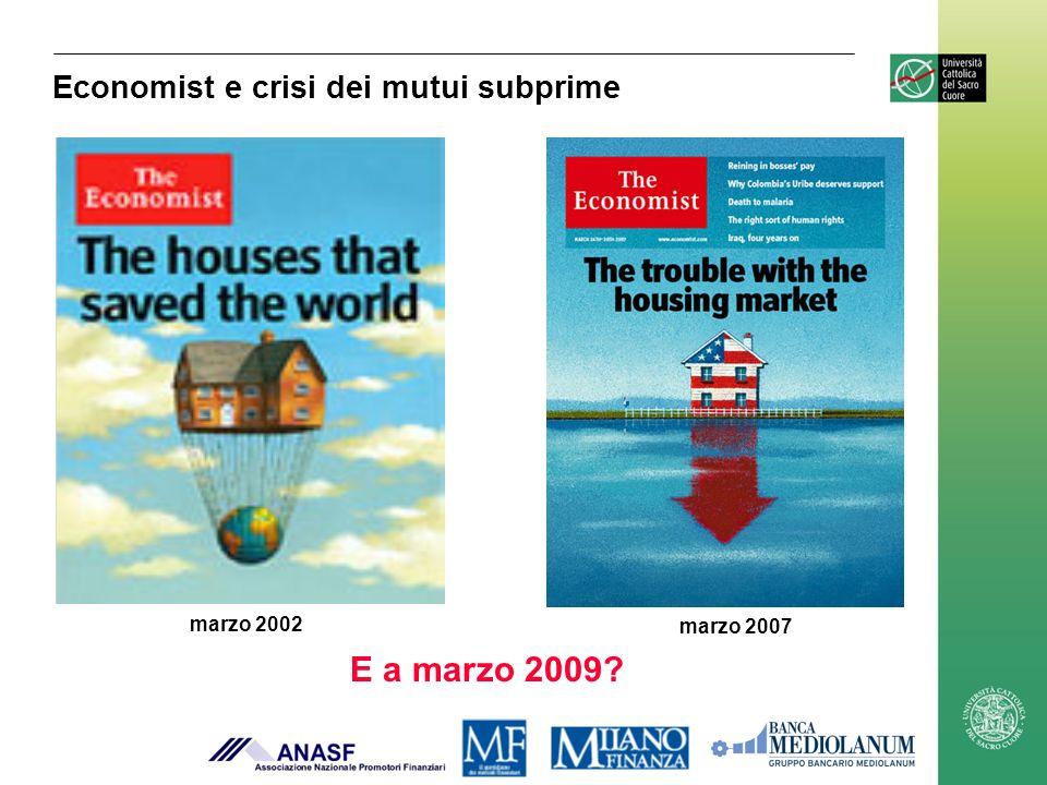 marzo 2007 marzo 2002 E a marzo 2009? Economist e crisi dei mutui subprime