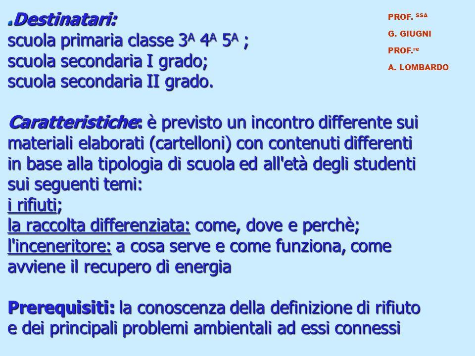 Destinatari: scuola primaria classe 3A 4A 5A ; scuola secondaria I grado; scuola secondaria II grado.