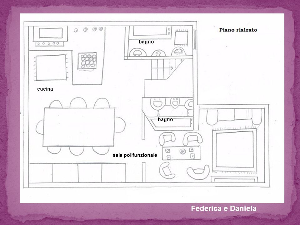 Federica e Daniela sala polifunzionale cucina bagno
