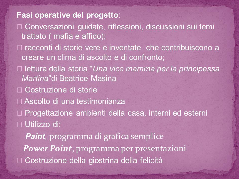 Fasi operative del progetto: Conversazioni guidate, riflessioni, discussioni sui temi trattato ( mafia e affido); racconti di storie vere e inventate