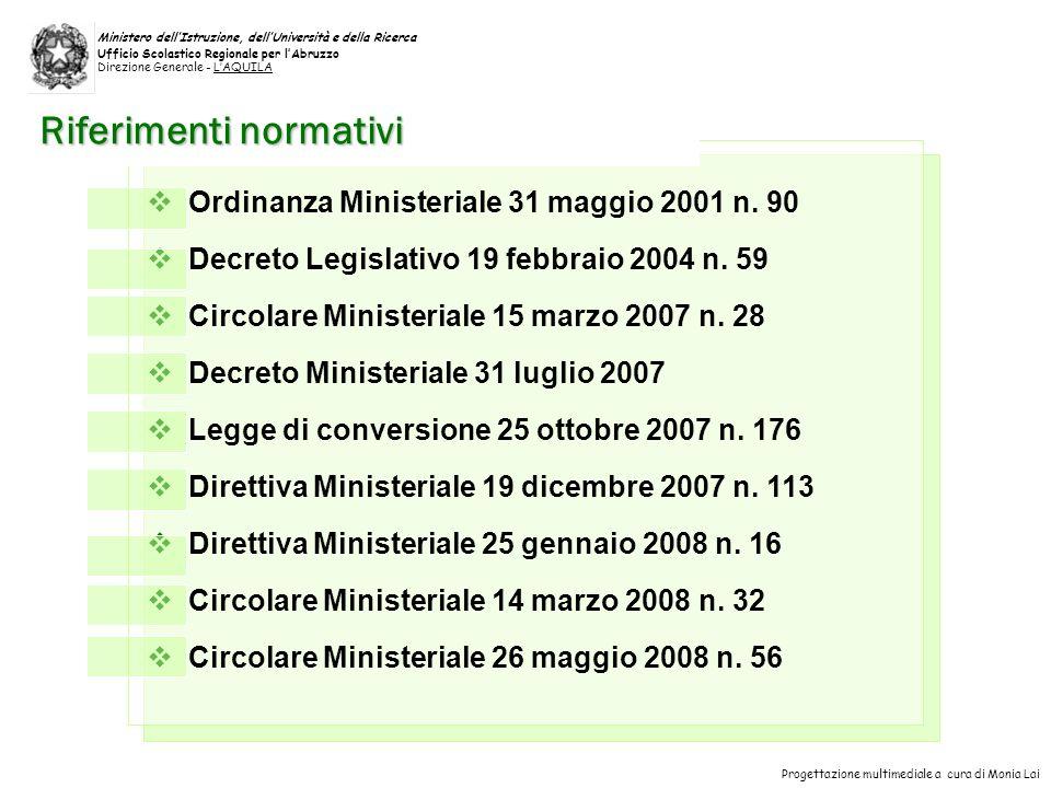 Ordinanza Ministeriale 31 maggio 2001 n.90 Decreto Legislativo 19 febbraio 2004 n.