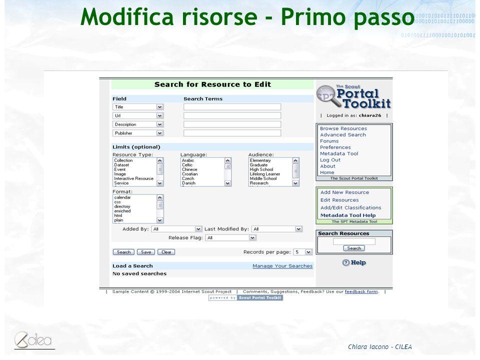 Chiara Iacono - CILEA Modifica risorse - Primo passo