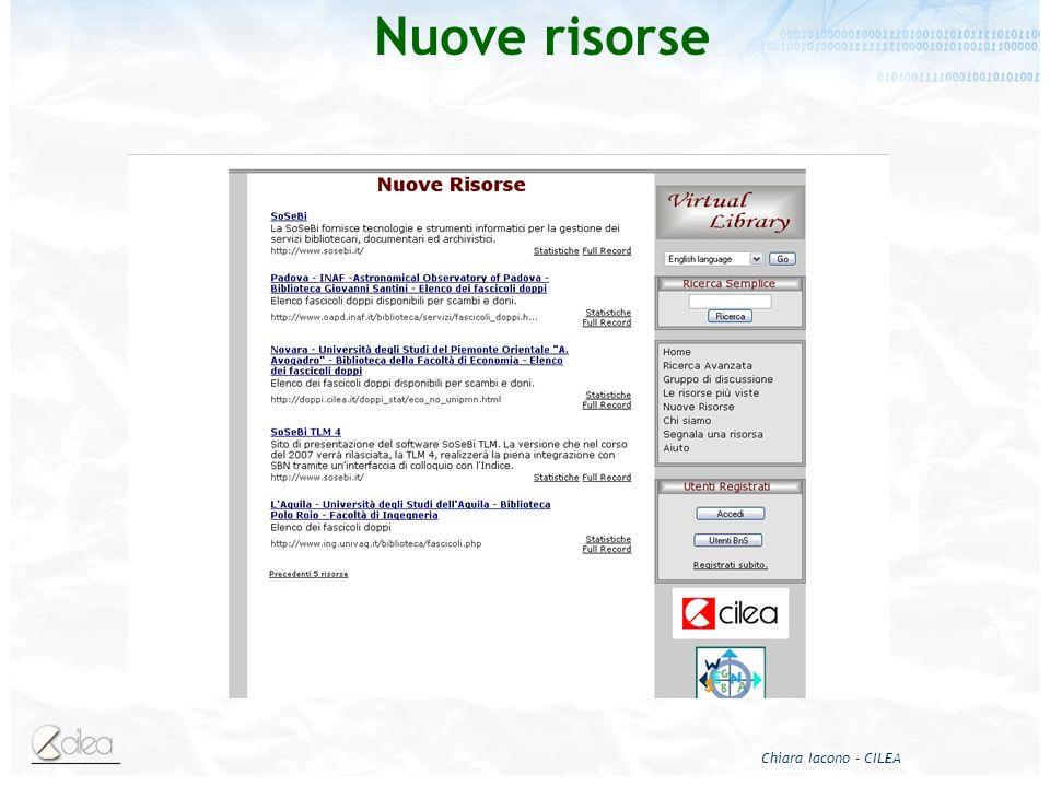 Chiara Iacono - CILEA Nuove risorse