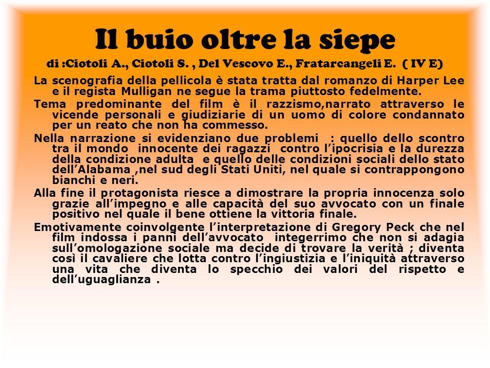 Il buio oltre la siepe di :Ciotoli A., Ciotoli S., Del Vescovo E., Fratarcangeli E. ( IV E) La scenografia della pellicola è stata tratta dal romanzo