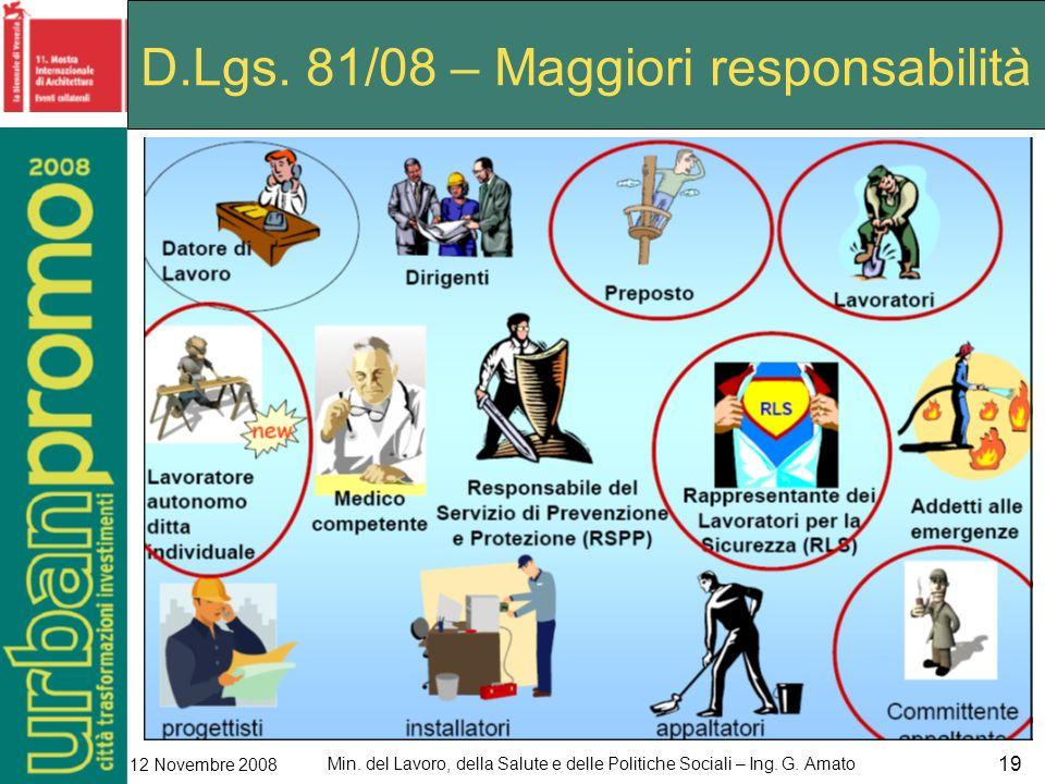 Min. del Lavoro, della Salute e delle Politiche Sociali – Ing. G. Amato 12 Novembre 2008 19 D.Lgs. 81/08 – Maggiori responsabilità