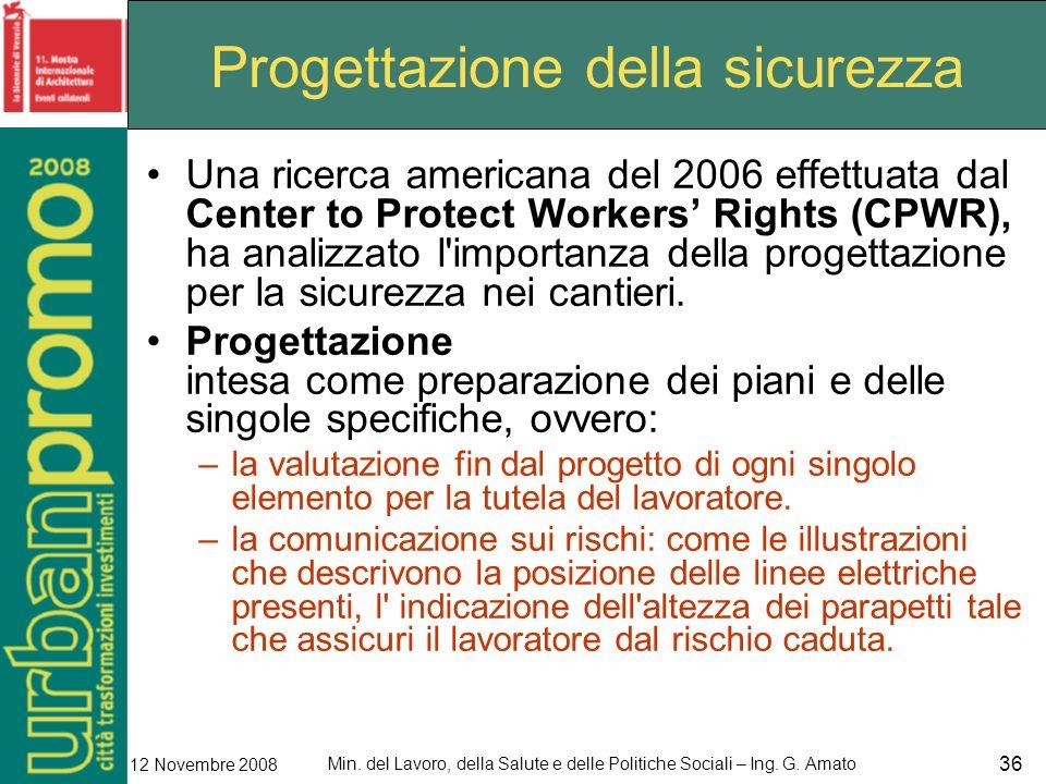 Min. del Lavoro, della Salute e delle Politiche Sociali – Ing. G. Amato 12 Novembre 2008 36 Progettazione della sicurezza Una ricerca americana del 20