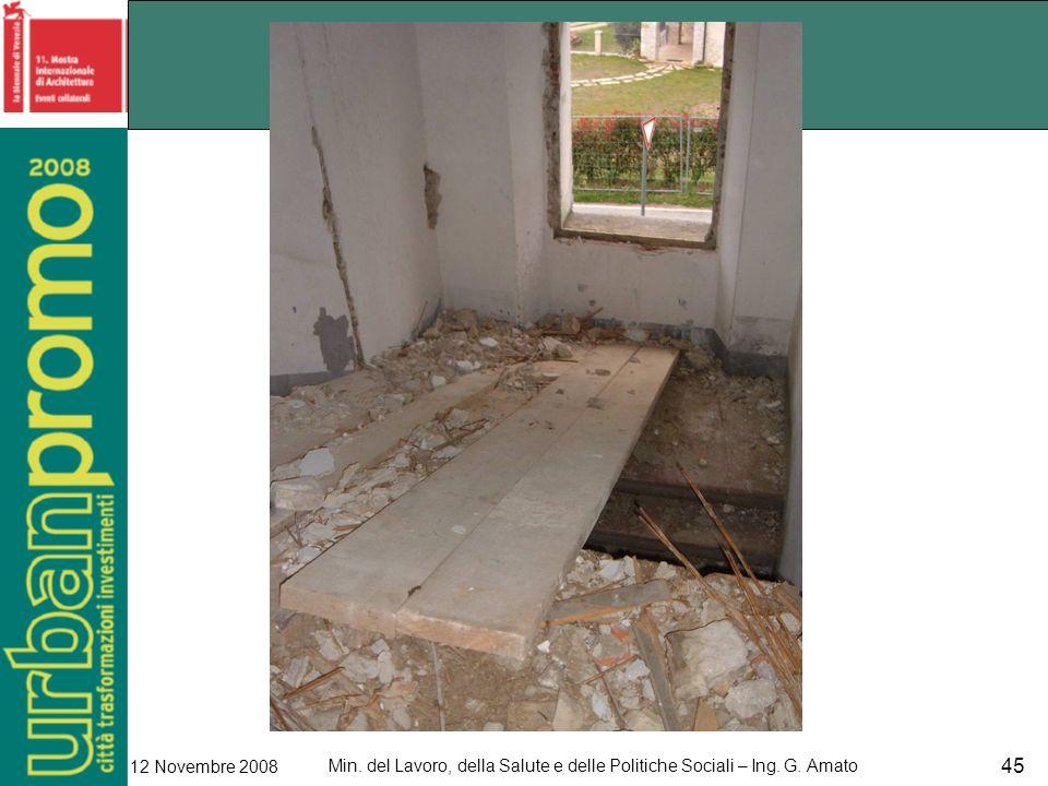 Min. del Lavoro, della Salute e delle Politiche Sociali – Ing. G. Amato 12 Novembre 2008 45
