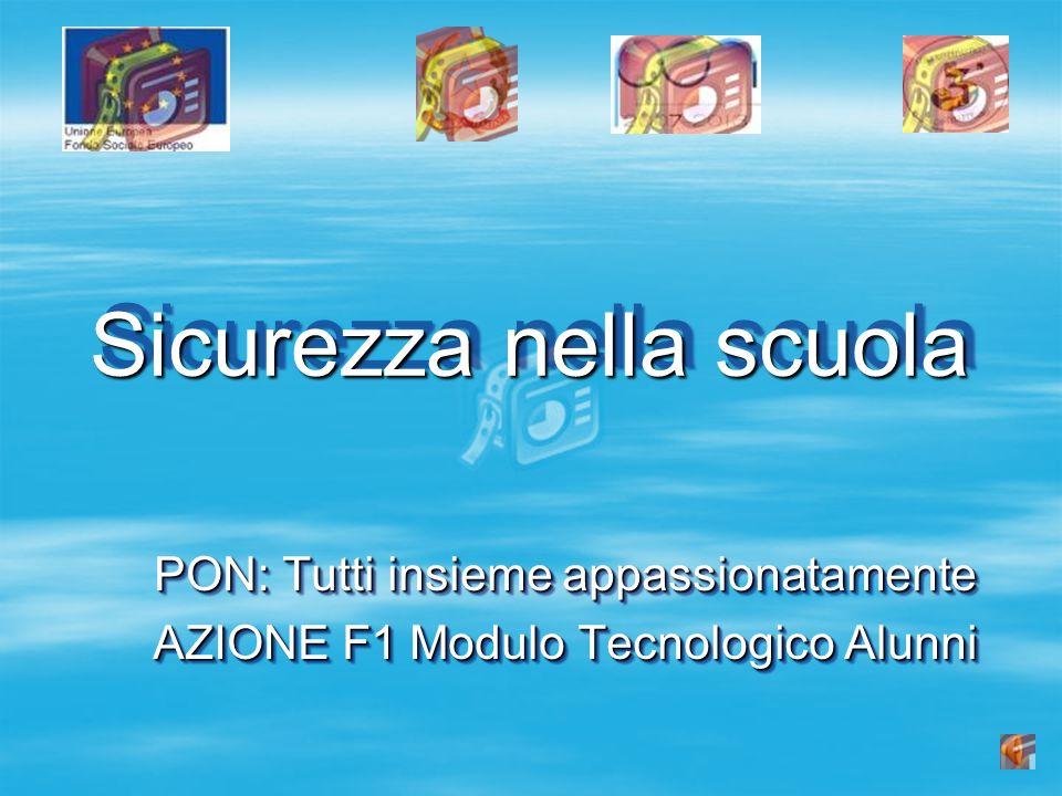 Sicurezza nella scuola PON: Tutti insieme appassionatamente AZIONE F1 Modulo Tecnologico Alunni PON: Tutti insieme appassionatamente AZIONE F1 Modulo