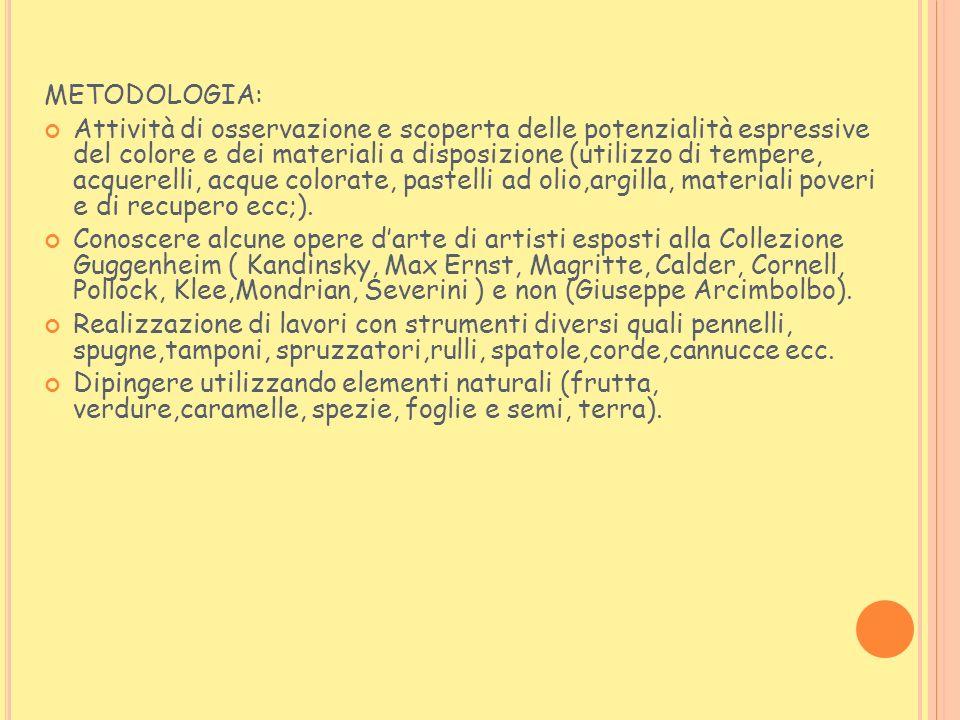 METODOLOGIA: Attività di osservazione e scoperta delle potenzialità espressive del colore e dei materiali a disposizione (utilizzo di tempere, acquere