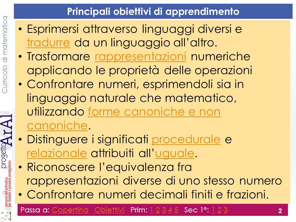 Prima primaria Esprimi in linguaggio naturale il confronto fra i seguenti numeri: 7; 18-11 6+13; 13+4 9-2; 9+2 6+4; 3+7 9+5; 9-5 26+8; 26+3+7 Passa a: Copertina Obiettivi Prim: 1 2 3 4 5 Sec 1°: 1 2 3CopertinaObiettivi12345123 3