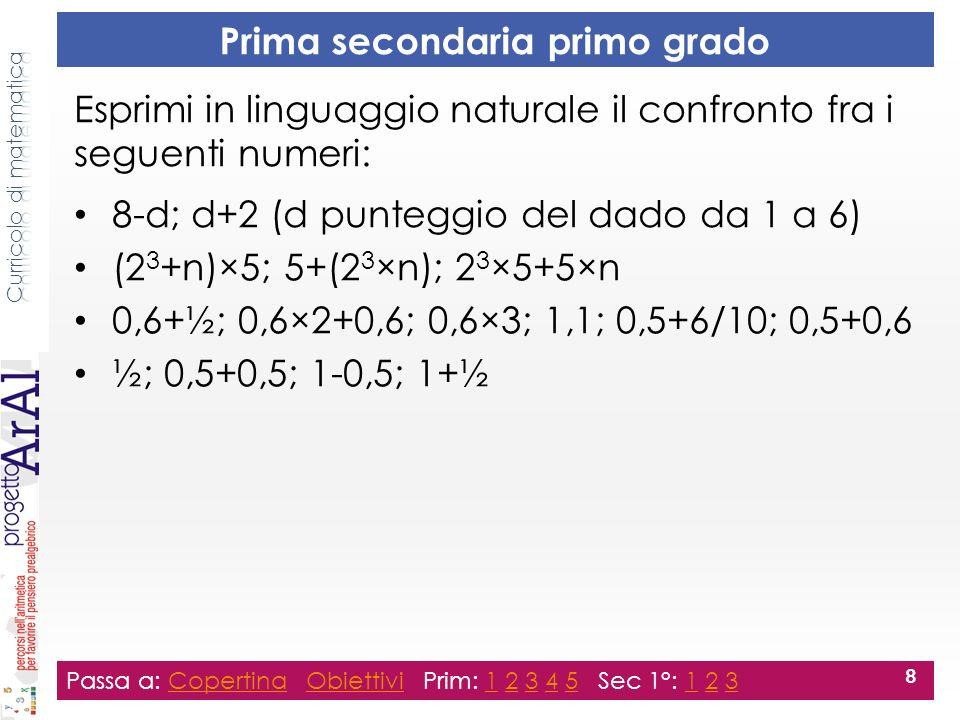 Seconda secondaria primo grado Passa a: Copertina Obiettivi Prim: 1 2 3 4 5 Sec 1°: 1 2 3CopertinaObiettivi12345123 9 Esprimi in linguaggio naturale il confronto fra i seguenti numeri: 6×n-4; 4+n×6 10; 5×(3-1); 5 2 n-1+n+n+1; 3n; n×3; n+2n a-11; a; a-9; a+1
