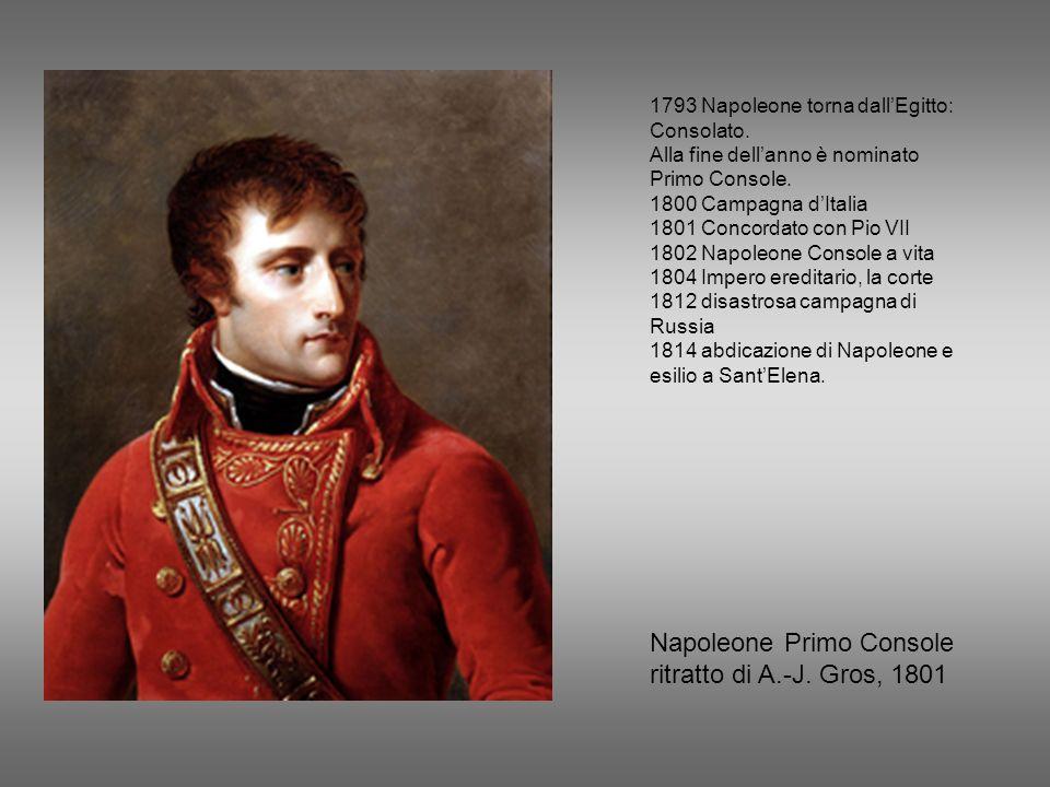Napoleone Primo Console ritratto di A.-J. Gros, 1801 1793 Napoleone torna dallEgitto: Consolato. Alla fine dellanno è nominato Primo Console. 1800 Cam