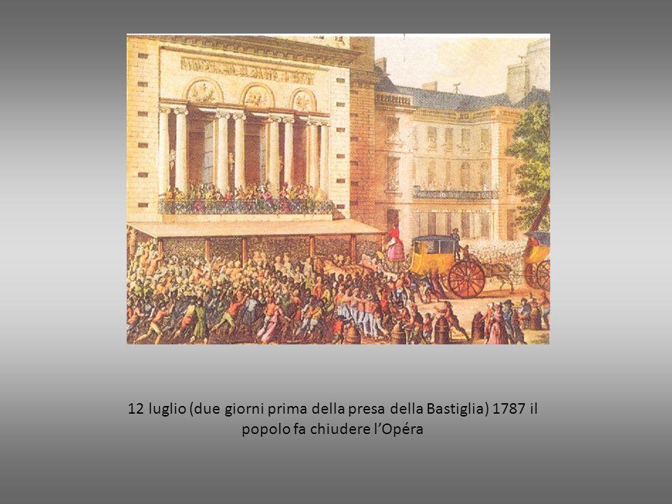 12 luglio (due giorni prima della presa della Bastiglia) 1787 il popolo fa chiudere lOpéra