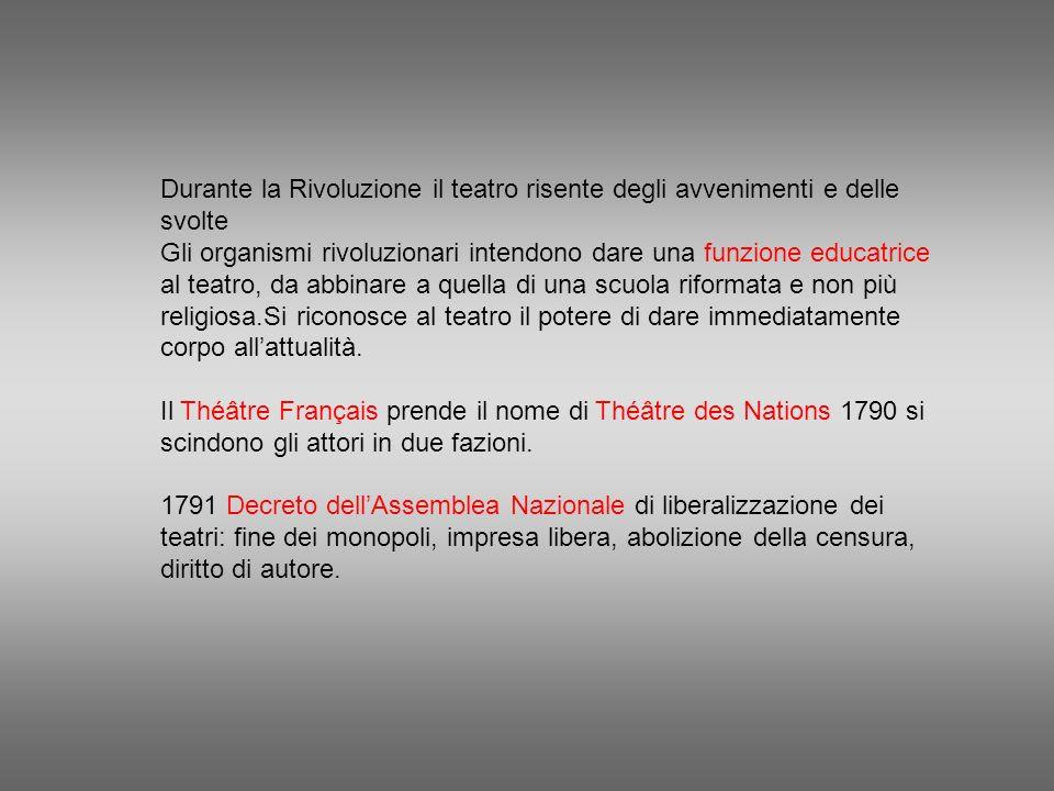 Durante la Rivoluzione il teatro risente degli avvenimenti e delle svolte Gli organismi rivoluzionari intendono dare una funzione educatrice al teatro